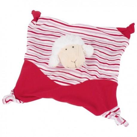 Szmatka przytulanka dla dziecka czerwona owieczka