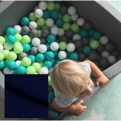Suchy basen dla dzieci z piłeczkami 90x90x40 kwadratowy - granatowy 300 piłeczek