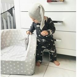Fotelik z pianki dla dzieci - szary w gwiazdki