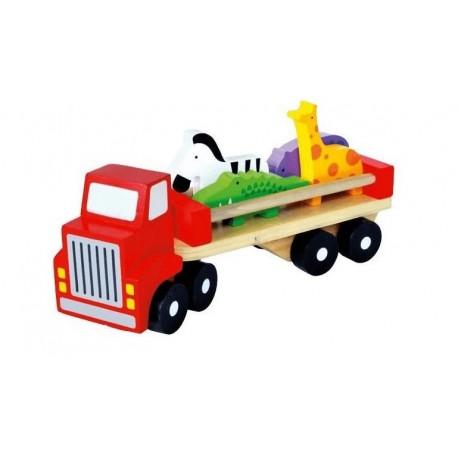 Drewniana ciężarówka ze zwieżętami