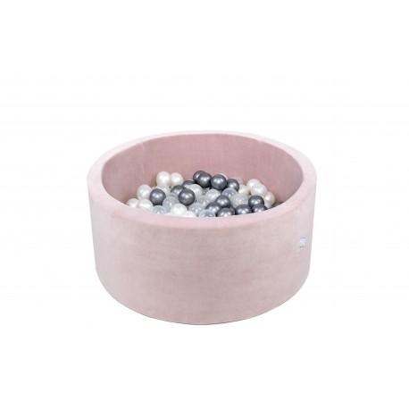 Suchy basen dla dzieci z piłeczkami 90x40 okrągłu 200 piłek - pudrowy róż VELVET