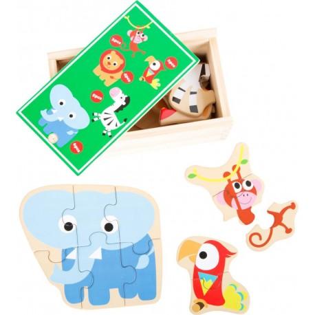 Puzzle zoo w drewnianym pudełku