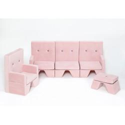 Zestaw sofa+fotel+podnóżek dla dziecka Premium MISIOO - róż