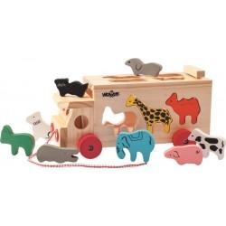 Drewniana ciężarówka - sorter ze zwierzętami