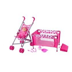 Lalka bobas z wózkiem i łóżeczkiem - zabawka 4w1