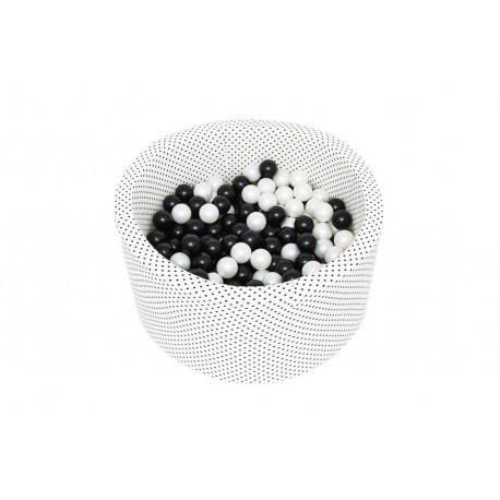 Suchy basen 90x40 w zestawie z 200 szt. piłek - kremowy w czarne groszki