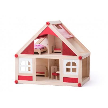Drewniany domek dla lalek z wyposażeniem Brygida