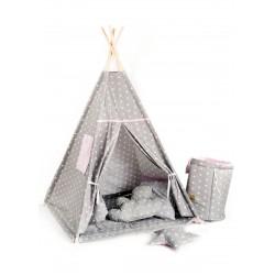 Namiot tipi dla dziecka Pudrowa Gwiazdka - zestaw mini
