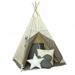 Namiot tipi dla dziecka Beżowa Szarość - zestaw mini