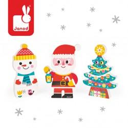 Magnetyczne klocki Święty Mikołaj Choinka i Bałwan JANOD