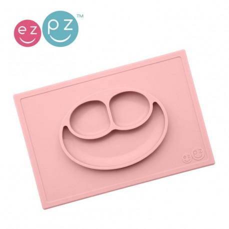 EZPZ Silikonowy talerzyk z podkładką 2w1 Happy Mat pastelowy róż