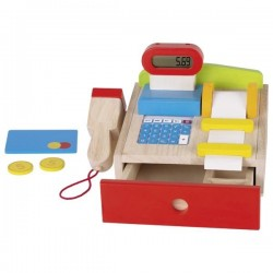 Drewniana kasa sklepowa z kalkulatorem