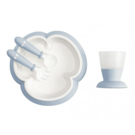 BABYBJORN - zestaw do karmienia - Powder Blue