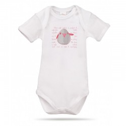 Lait Baby Organic Body Short Sleeve Tweet the Bird Pink