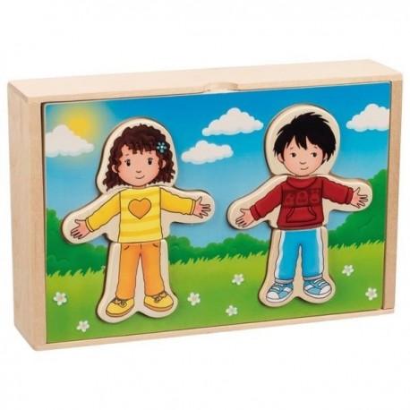 Drewniana układanka ubierz chłopca i dziewczynkę
