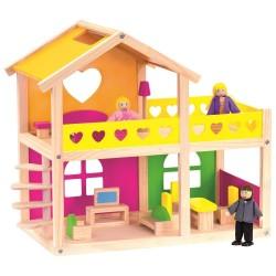 Bino domek dla lalek z mebelkami i lalkami