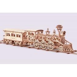 Mechaniczne puzzle 3D – Duża lokomotywa R17 z wagonem i torami