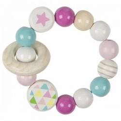 Grzechotka pierścień elastyczny różowa gwiazdka
