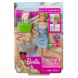 Barbie Kąpiel zwierzątek Lalka + Zestaw