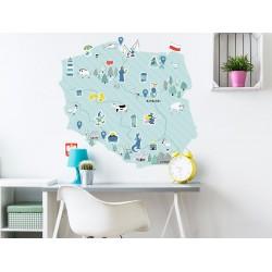 Naklejka na ścianę - mapa Polski - miętowa L