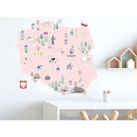 Naklejka na ścianę - mapa Polski - różowa L