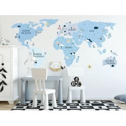 Naklejka na ścianę - mapa świata -ice cold S