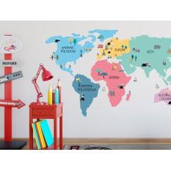 Naklejka na ścianę - mapa świata - kolorowa S