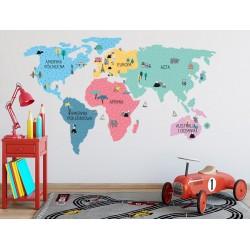 Naklejka na ścianę - mapa świata - kolorowa L