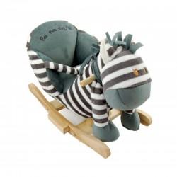 Konik na biegunach z fotelikiem - zebra